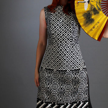1960s Black White Maxi Dress. Graphic Print. Mad Men Fashion. Party Dress. Cocktail Dress