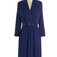 ModCloth Mid-length Long Sleeve A-line This Is the Life Dress in Cobalt