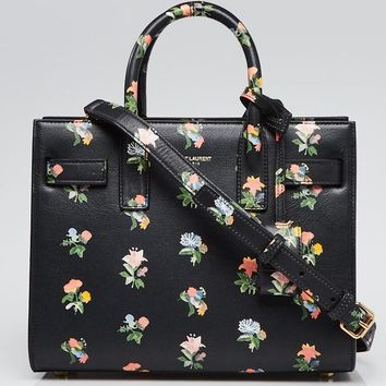 Yves Saint Laurent Black Leather Prairie Flower Nano Sac de Jour Bag