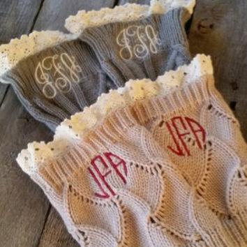 Boot Cuffs Cable Knit with Ivory Lace Trim  MONOGRAM Gray Beige, Black Ivory