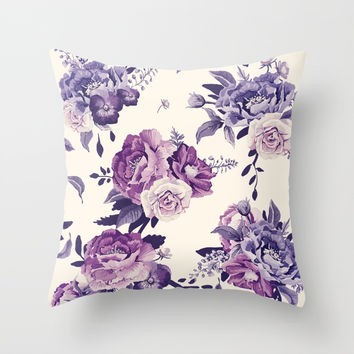 Purple floral boho pattern Throw Pillow by printapix