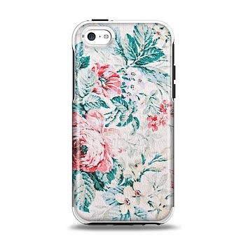 The Coral & Blue Grunge Watercolor Floral Apple iPhone 5c Otterbox Symmetry Case Skin Set