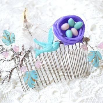 Bird nest hair comb-Wedding Hair Comb-Beach wedding hair accessory-hair accessories-Bridesmaid Hairpiece-bridal birds branch hairpiece