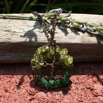 Petite Peridot Tree Of Life Necklace Pendant with Aventurine Roots On Brown Chain Wire Wrapped Wedding Jewelry February Birthstone Jewelry