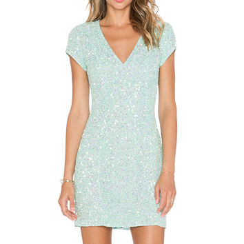 Parker Black Serena Sequin Dress in Mint