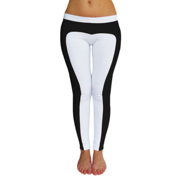 Black and white Leggings Yoga Pants workout colorblocked activewear fitnesswear handmade cycling running pants lowrise fuzzy custom pants