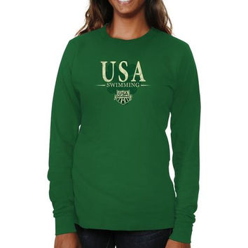 USA Swimming Ladies St. Paddy's Long Sleeve Slim Fit T-Shirt - Green