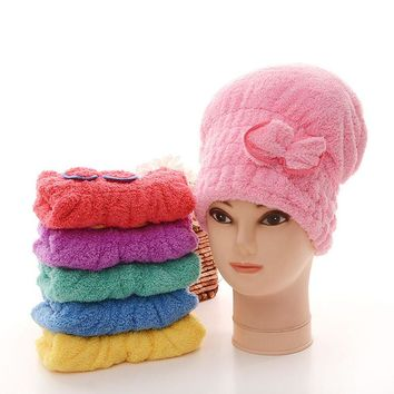 6 Colors Coral Cashmere Solid Hair Turban Quickly Dry Hair Hat Womens Girls Lady's Cap Towel Head Wrap Hat Bath Super Absorbent