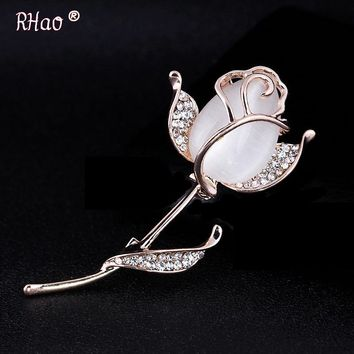RHao Delicate 2018 flying opal flowers brooches for women wedding party dress jewelry accessories scarf buckles hijab pins gift