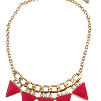 Pink Triangle Chain & Crystal Necklace - My Jewel Candy