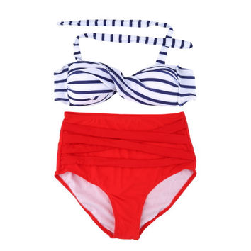 Summer Retro Vintage Swimwear High Waist Bikini