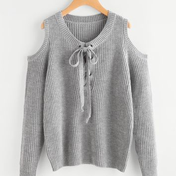 Open Shoulder Lace Up Fall Sweater