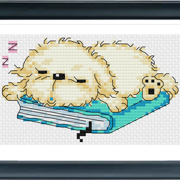 Cross Stitch Pattern, Cross Stitch, Counted Cross Stitch, Cross Stitch Chart, Xstitchpatterns, Cross Stitch Sleeping Puppy