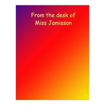 Teacher Appreciation From Desk of, Vivid Rainbow Letterhead