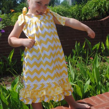 PDF girls sewing pattern Shoulder Tie Dress, Size 3,4,5