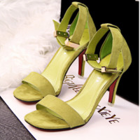 Stylish Simple OL High-heeled Suede Square Head Women Sandals with Metal Buckle Word