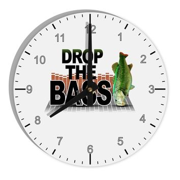 """Drop The Bass Fish 8"""" Round Wall Clock with Numbers"""