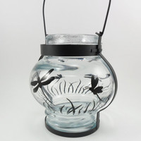 Lantern Candle Holder Black Dragonfly Hand Painted