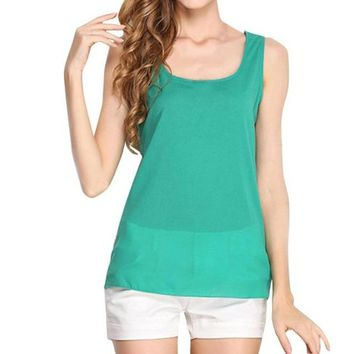 Ships From Usa Feitong Plus Size Summer Off Shoulder Top Women Sleeveless Chiffon Blouse Ladies