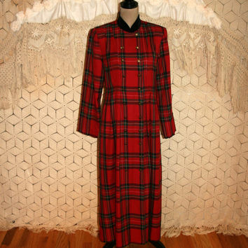 90s Red Plaid Dress Winter Edwardian Velvet Mandarin Collar Long Sleeve Christmas Grunge Double Breasted Duster Size Medium Womens Clothing