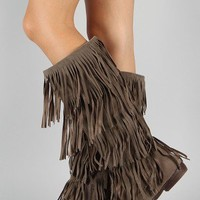 Breckelle Chicago-12 Fringe Moccasin Knee High Boot