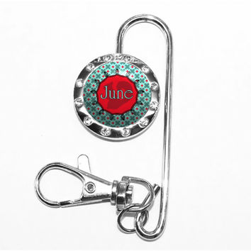 A337 - Personalized Turquoise and Red Squirrel Bag Key Finder