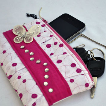 Pink and white pleated Clutch Purse, zippered Pouch, summer Clutch, wristlet