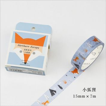 15mm*7m Nordic series fox Decorative Scotch Animal Washi Tape DIY Scrapbooking Masking Tape School Office Adhesive Tapes 02489