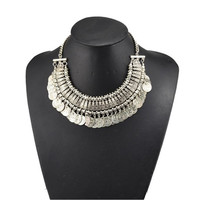 Styling Silver Coin Choker Necklace Boho