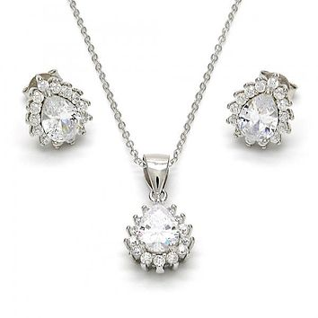 Sterling Silver Necklace and Earring, Teardrop Design, with Cubic Zirconia, Rhodium Tone