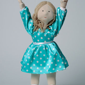 Handmade soft marionette doll in jersey polka dot dress for puppet theater