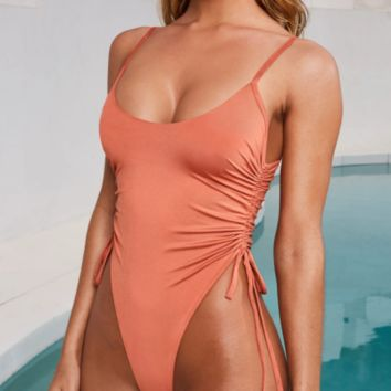 Explosive bikini women's one-piece swimsuit sexy pleated bikini