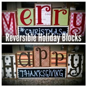 Happy Thanksgiving / Merry Christmas Custom Reversible Wooden Block Set.