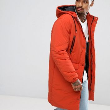 ASOS Heavyweight Parka in Rust at asos.com