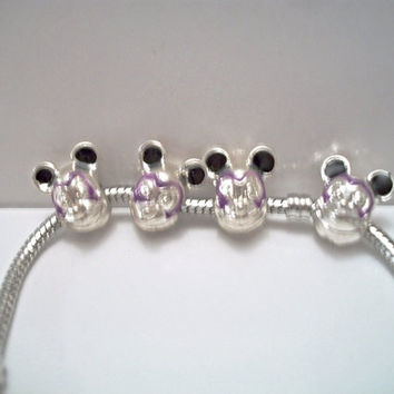 Mickey Mouse European Charm Bracelet Lavender Purple Costume Jewelry