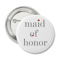 Gray Text Maid of Honor Pinback Button from Zazzle.com