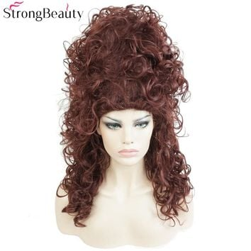Synthetic Long Curly Wig Dark Auburn Drag Wig Witch Hair Beehive Cosplay Wigs Wow Big Hair