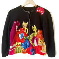 """Pile 'O Kitties"" Crazy Cat Lady Tacky Ugly Sweater"