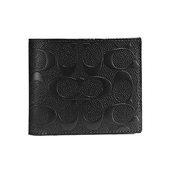 Coach Compact Id Wallet In Signature Crossgrain Leather F75371 Black