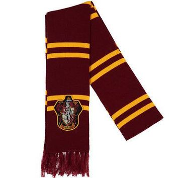 Harry Potter Gryffindor House Crest Logo Patch Licensed Striped Scarf - Maroon
