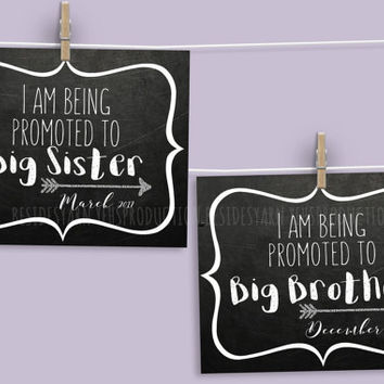 I am Being Promoted To Big Brother (Sister) Sign Pregnancy Announcement Photo Prop, Maternity Photography, Pregnancy Photo Prop Chalkboard