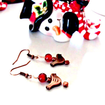 Dangle Earrings, Copper Birds and Red Glass, Holiday Gifts of Red and Copper, Free shipping