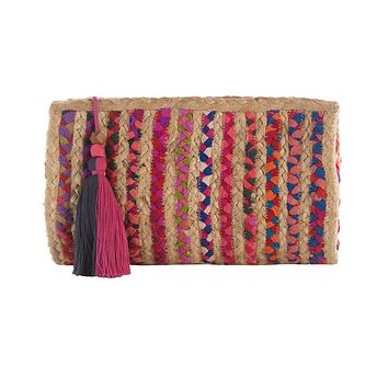 Women's Colorful-Tassel Straw Clutch