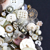 Vintage & Antique White Button Lot - Over 200 Buttons - Mother of Pearl, Shell, Crystal, Glass, Lucite, Rhinestone / Elegant Supply Destash