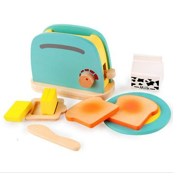 Cute Kids Baby Breakfast Pretend Role Play Wooden Kitchen Toaster Toys Child Development Toy with Milk /Bread/ Butter Gifts