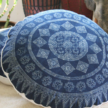 "30"" Round Boho Floor Pillow, Ethnic Hmong Indigo Batik Pillow, Large Floor Cushion Covers, Free Worldwide Shipping"