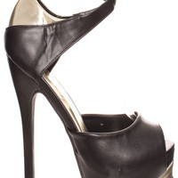 BLACK GOLD MINI WRAP AROUND ADJUSTABLE ANKLE STRAP HIGH HEEL