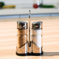 2pcs Condiments Bottles Glass Spice Jar Seasoning Box Salt Sugar Pepper Bottle with Holder Kitchen Tool