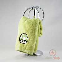 Super Mario Bros. Green Mushroom Inspired - Embroidered Hand Towel