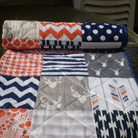 Woodland Baby quilt,Navy blue,grey,orange,baby boy bedding,baby girl quilt,rustic baby quilt,deer,stag,organic,arrows,chevron,Orange Crush
